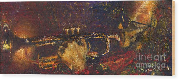 Jazz Wood Print featuring the painting Jazz Miles Davis by Yuriy Shevchuk