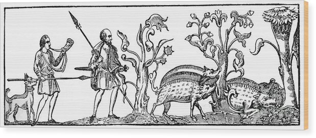 Engraving Wood Print featuring the drawing Swine Hunting, 9th Century, 1833 by Print Collector