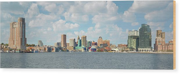 Downtown District Wood Print featuring the photograph Baltimore Skyline And Inner Harbor by Greg Pease