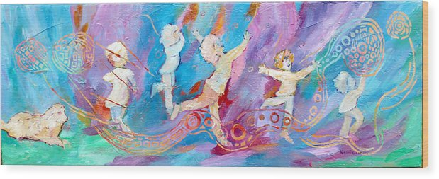 Kids Dancing Wood Print featuring the painting Dancing With Colour by Naomi Gerrard