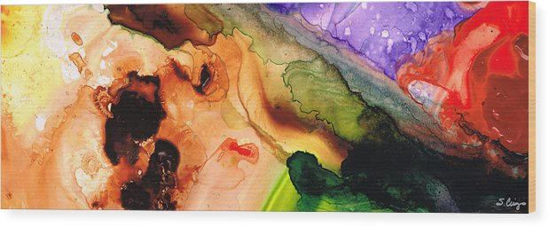 Abstract Art Wood Print featuring the painting Creation's Embrace by Sharon Cummings