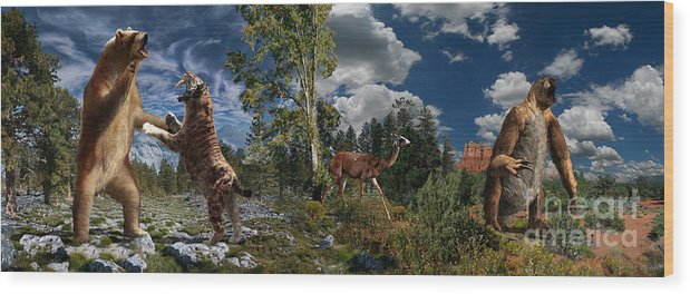Paleoart Wood Print featuring the digital art Pliocene - Pleistocene mural 2 by Julius Csotonyi