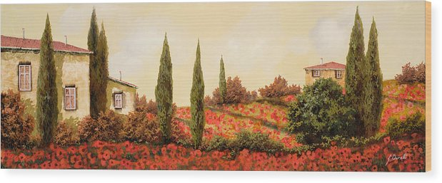 Landscape Wood Print featuring the painting Tre Case Tra I Papaveri Rossi by Guido Borelli