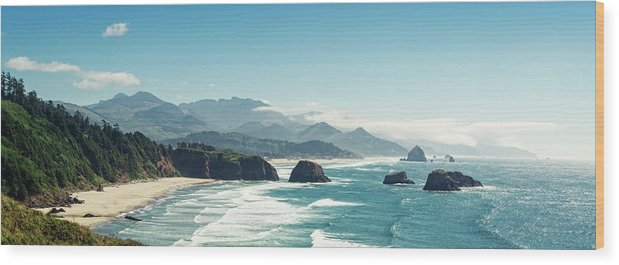 Scenics Wood Print featuring the photograph Panoramic Shot Of Cannon Beach, Oregon by Kativ