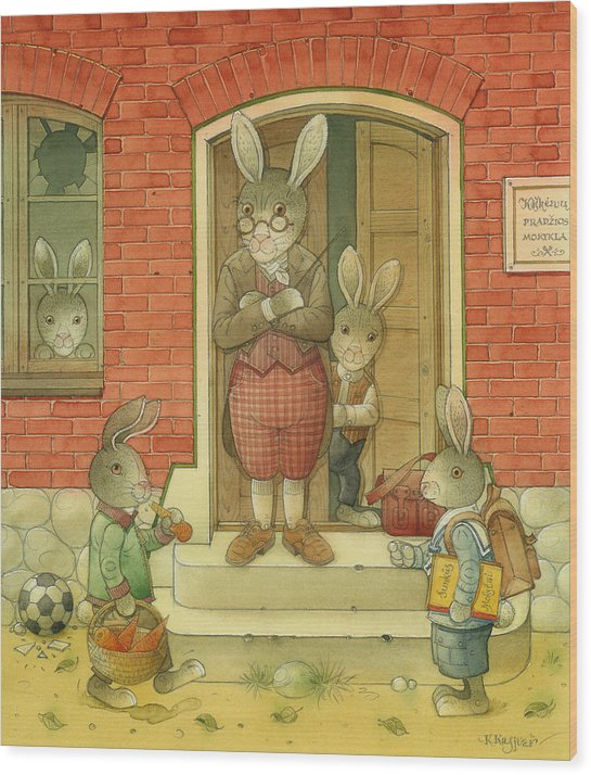 School Hare Red Teacher Wood Print featuring the painting Hare School by Kestutis Kasparavicius