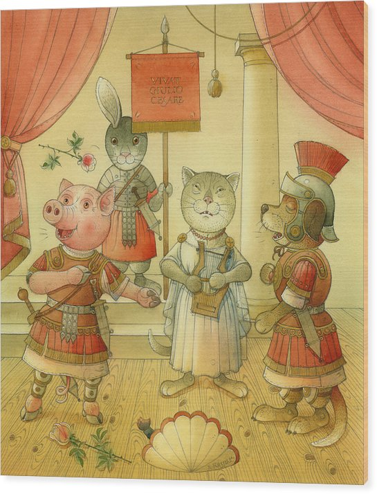 Opera Singer Animals Cat Pig Dog Rabbit Giulio Cesare Wood Print featuring the painting Opera by Kestutis Kasparavicius