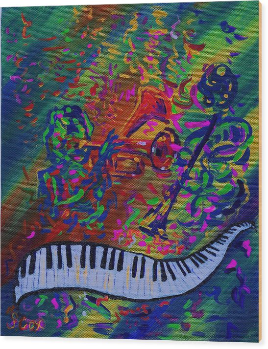 Jazz Painting Wood Print featuring the painting Saint Antony by Stephanie Cox
