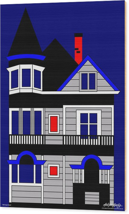 Wood Print featuring the digital art 1080 Haight Street by Asbjorn Lonvig