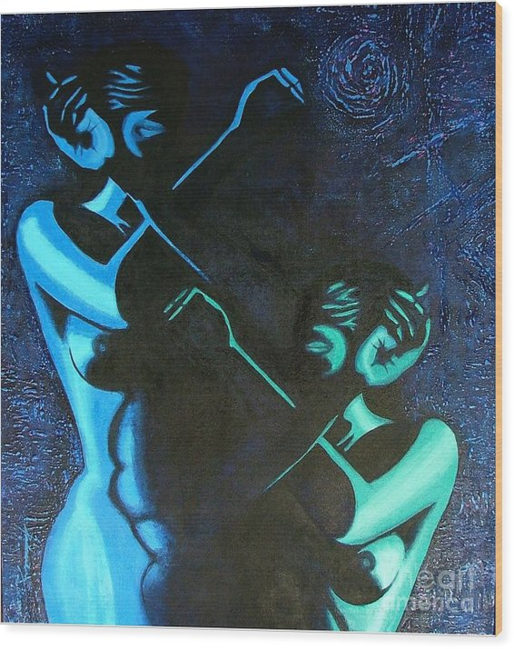 Figurative-abstract Wood Print featuring the painting My Disownment by Padmakar Kappagantula