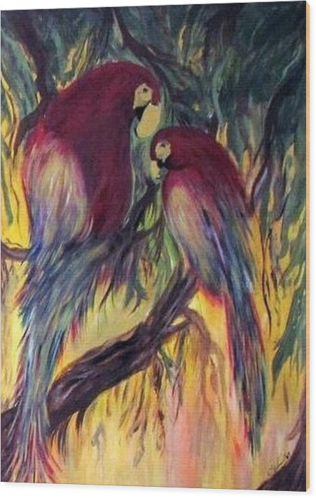 Wild Life Wood Print featuring the painting The Birds by Mary h spencer hollis Driskell