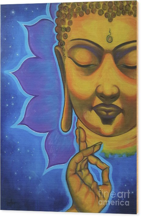 Wood Print featuring the painting The Peaceful Buddha by Joyce Hayes