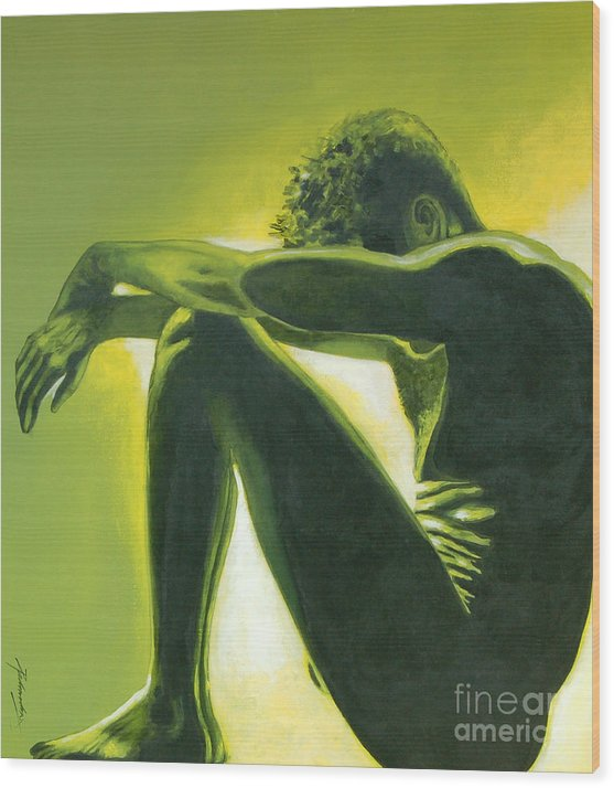 Figurative Wood Print featuring the painting Soliloquy by Padmakar Kappagantula