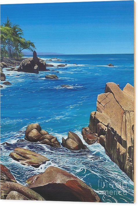 Puerto Vallarta Wood Print featuring the painting Swept Away by Hunter Jay