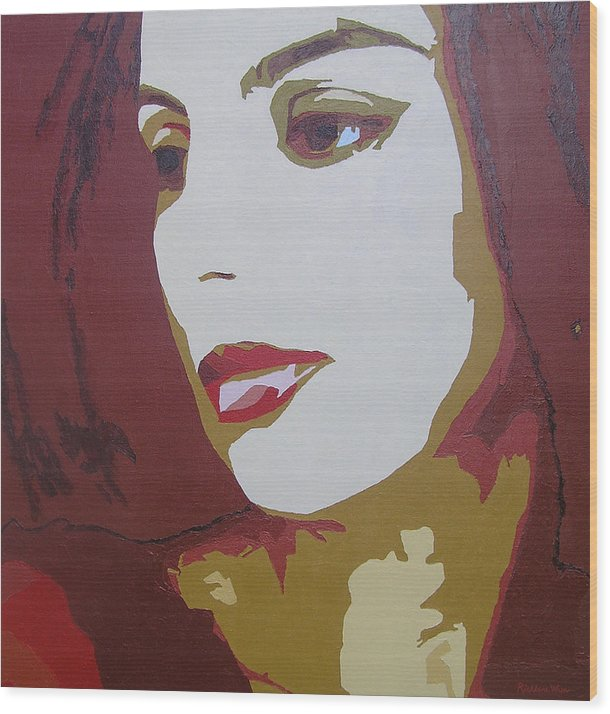 Portrait Wood Print featuring the painting Lost In Thought by Ricklene Wren