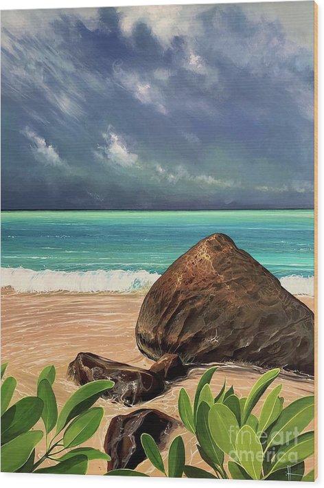 Coastal Wood Print featuring the painting Limbo Light by Hunter Jay