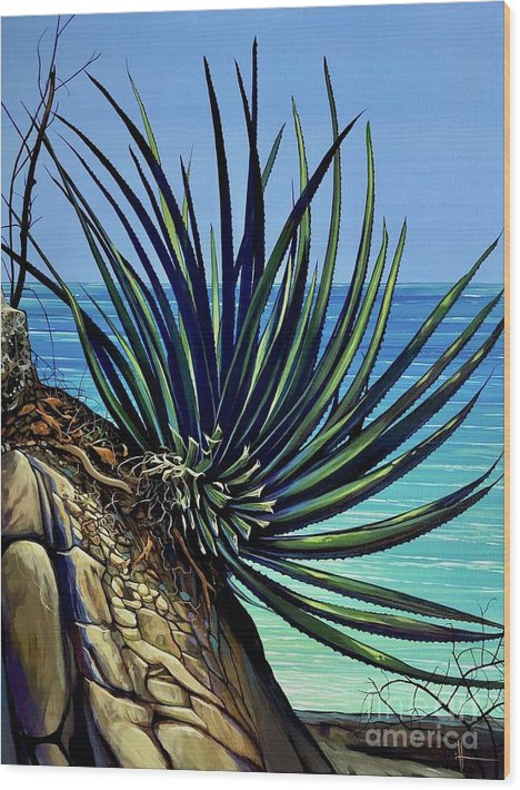 Yucca Wood Print featuring the painting Tenacity by Hunter Jay