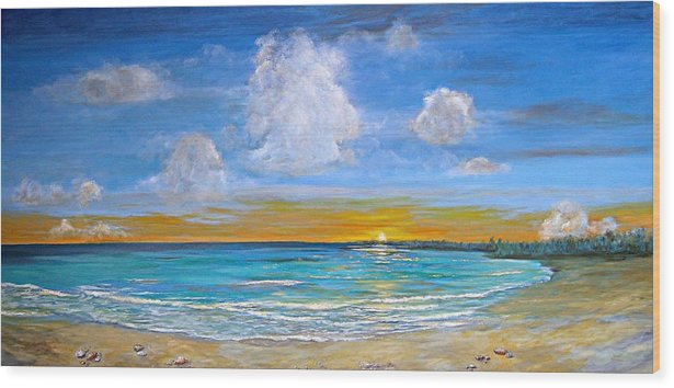 Seascape Wood Print featuring the painting Bay Of Tranquility by Jeannette Ulrich
