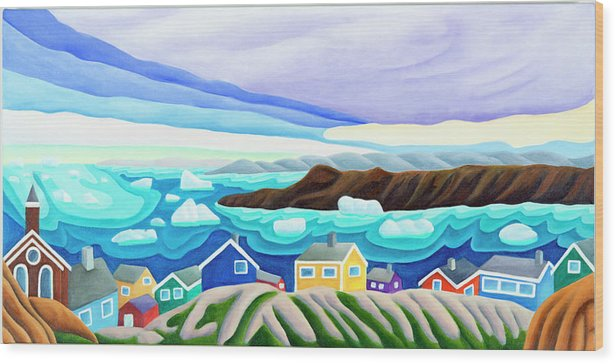 Arctic Landscape. Greenland Wood Print featuring the painting 69 Degrees 13 Minutes North by Lynn Soehner