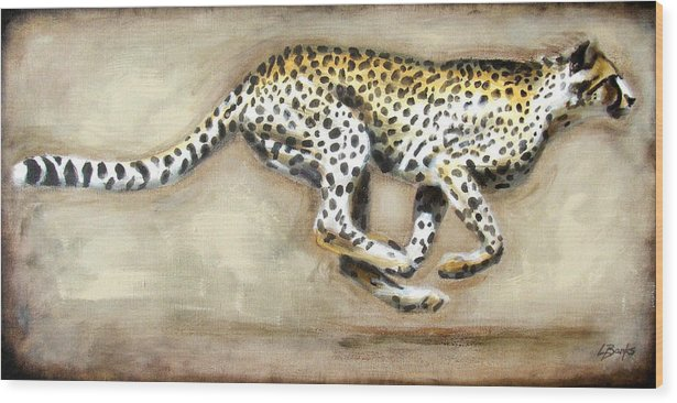 Running Cheetah Wood Print featuring the painting Chase by Leigh Banks