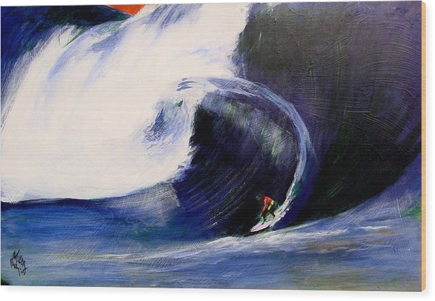 Surf Wood Print featuring the painting Big Tunnel Dharma by Paul Miller