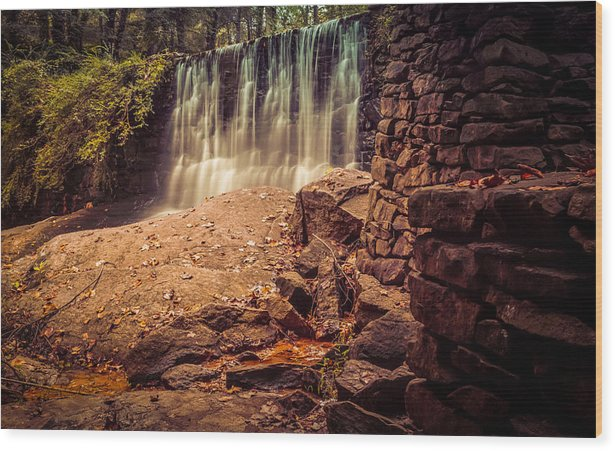 Antique Wood Print featuring the photograph Grist Mill Water Fall by Honey Bunch Lyn Photographs