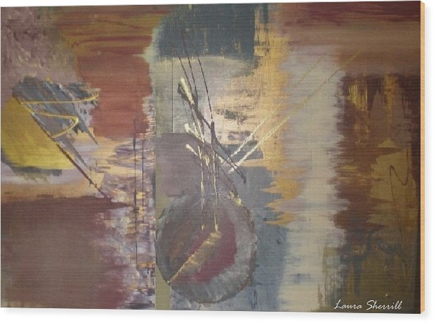 Contemporary Wood Print featuring the painting Time by Laura Sherrill