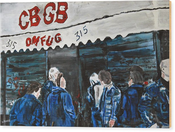 New York City Paintings Wood Print featuring the painting Cbgb's by Wayne Pearce