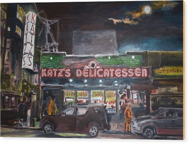 New York City Paintings Wood Print featuring the painting Katz Deli by Wayne Pearce