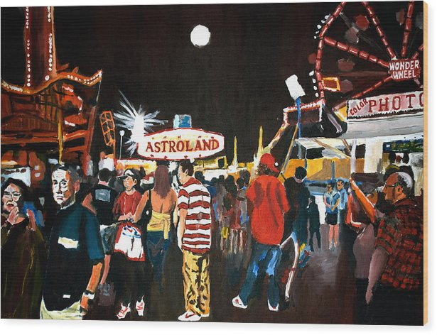 Coney Island Wood Print featuring the painting Astroland by Wayne Pearce