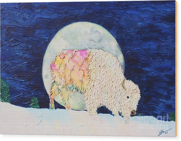 White Buffalo Wood Print featuring the painting White Tatanka by Van David