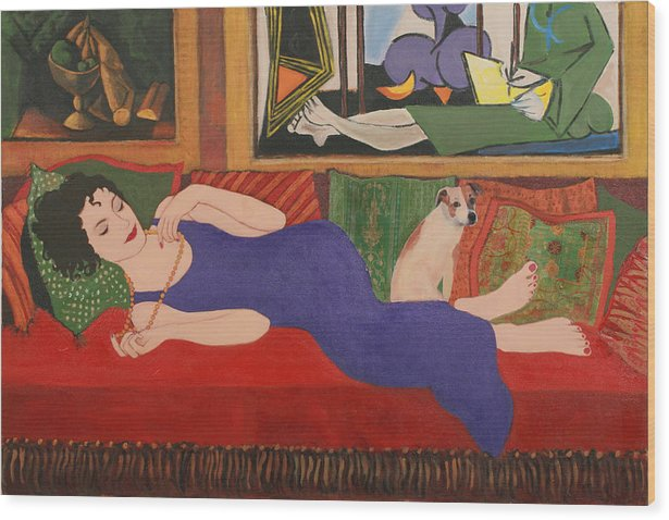 Humorous Wood Print featuring the painting Lounging With Picasso by Susan Rinehart