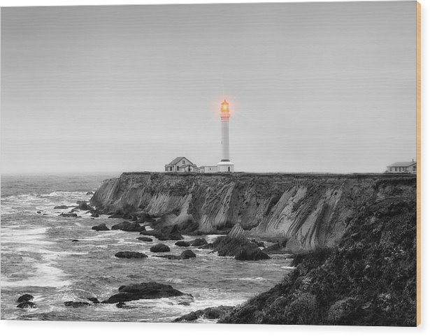Point Arena Wood Print featuring the photograph Point Arena Lighthouse by Rhonda Swanson