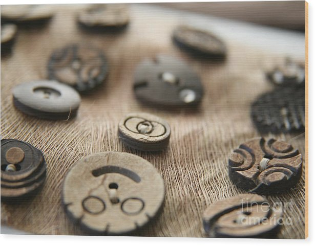 Buttons Wood Print featuring the photograph Beloved Buttons by Lynn England