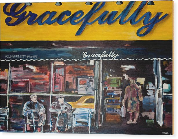 New York City Paintings Wood Print featuring the painting Gracefully by Wayne Pearce