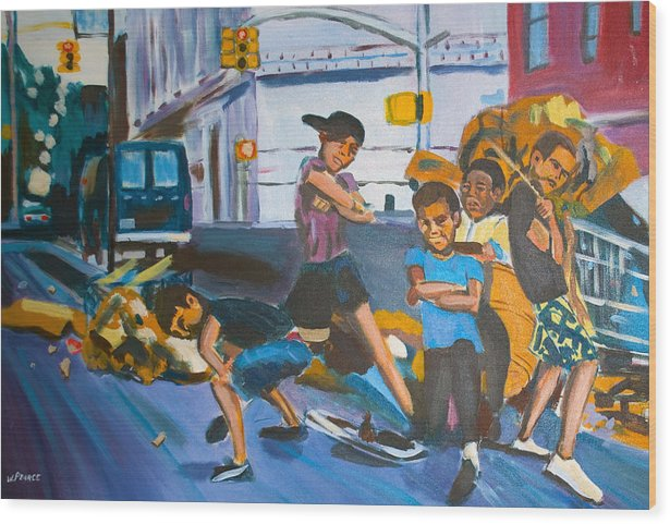 New York City Paintings Wood Print featuring the painting Playground by Wayne Pearce