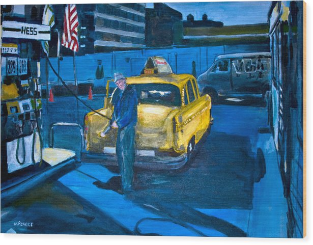 New York City Paintings Wood Print featuring the painting Taxi by Wayne Pearce