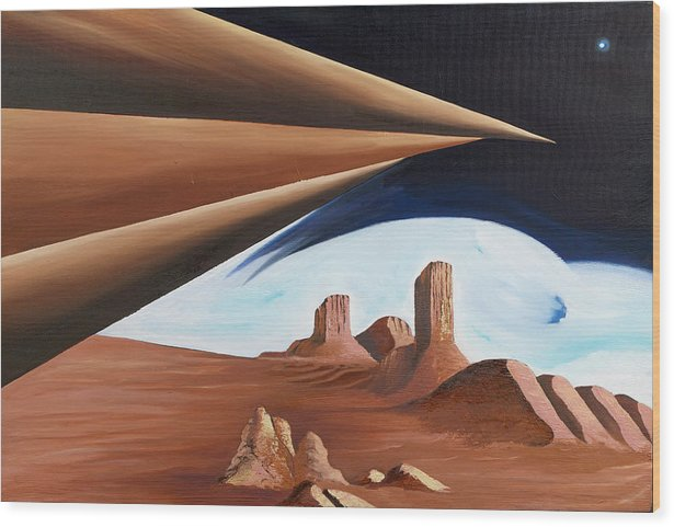 Abstract Geometry Landscape Wood Print featuring the painting Within Our Imagination by Ara Elena