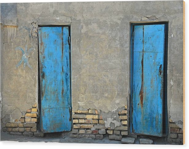 Bukahara Wood Print featuring the photograph Two Blue Doors  Bukhara by Joseph Cosby