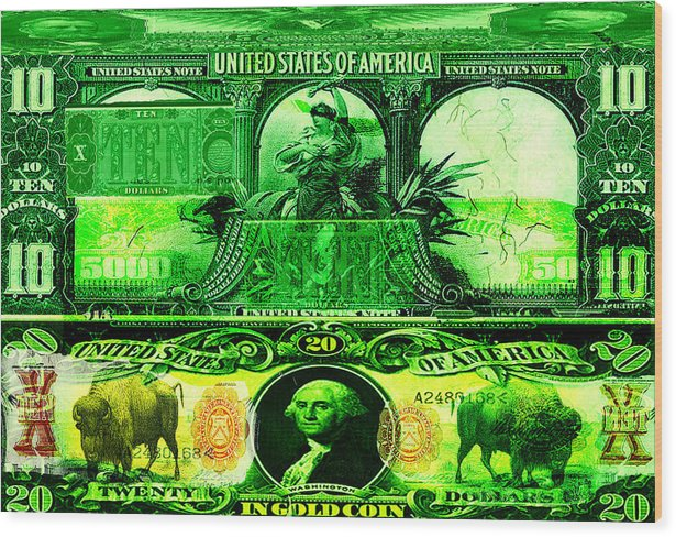 Portfolio Wood Print featuring the painting Alchemy Currency by Nate Schneider