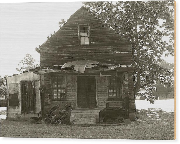Black & White Wood Print featuring the photograph Forgotten Store by Michael Vinyard