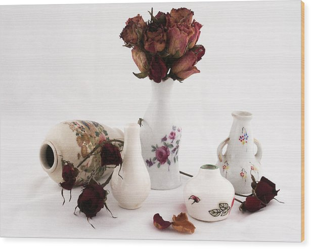 Fine Art Wood Print featuring the photograph Mini Vase With Dried Roses by Michael Vinyard