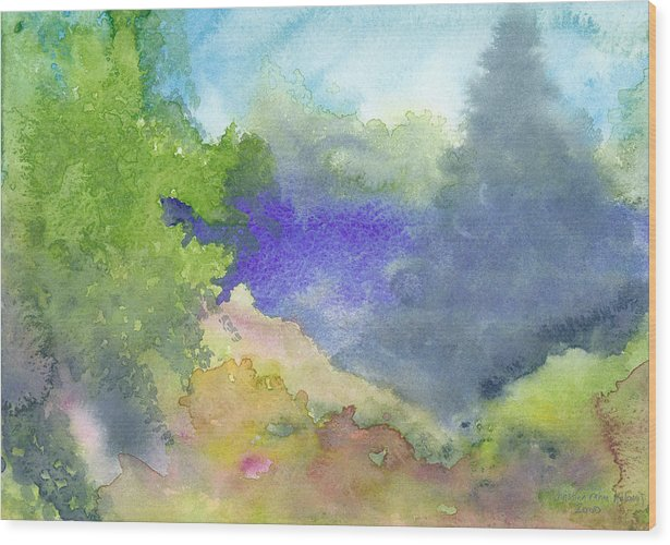 Landscape Wood Print featuring the painting Landscape 5 by Christina Rahm Galanis