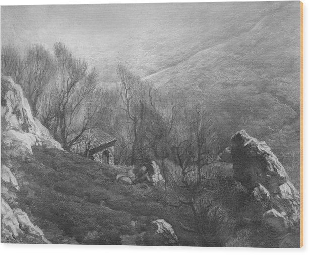Mountain Wood Print featuring the drawing Mountain Scape by Denis Chernov