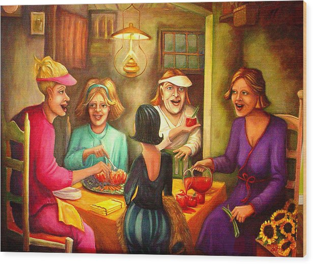 Women Wood Print featuring the painting Tomato Eaters by Joetta Currie