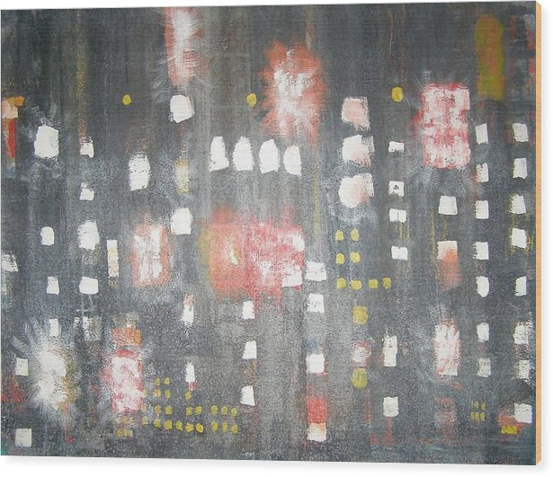 Abstract Wood Print featuring the painting Nyc In The Rain by Don Phillips