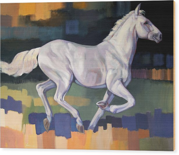 Horse Wood Print featuring the painting White Horse2 by Farhan Abouassali