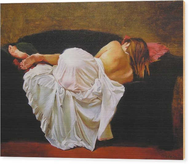 Reclining Figure Wood Print featuring the painting Gowned by Ron McDowell