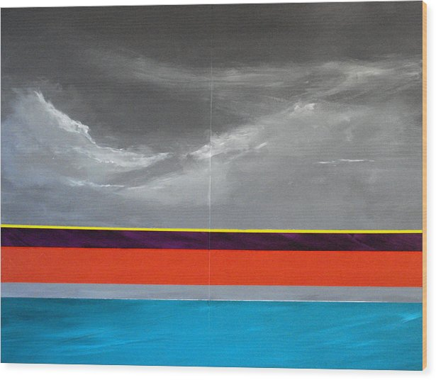Seascape Impression Wood Print featuring the painting Monsoon Sky by Paul Miller