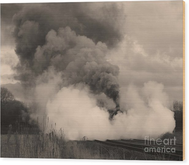 Train Wood Print featuring the photograph Steam In Sepia by Steev Stamford