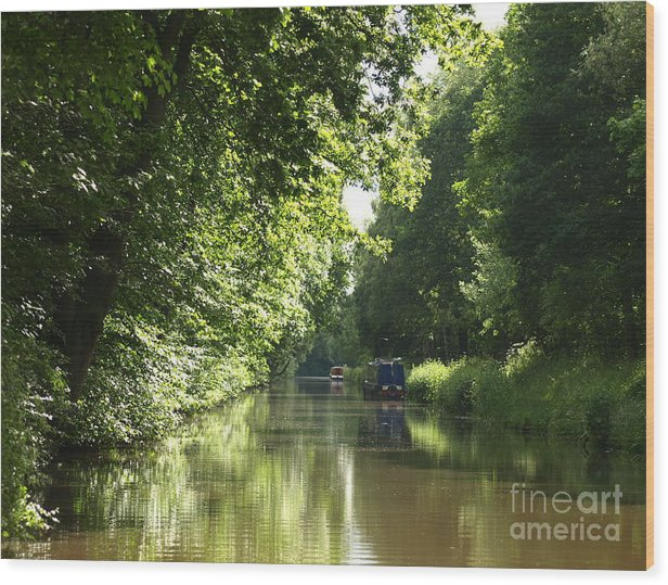 Canal Wood Print featuring the photograph Woodend Cutting by Steev Stamford